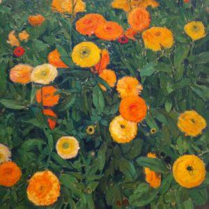 Ringelblumen (marigolds) by Koloman Moser, 1909. #marigolds #orangeyellowandgreen #ringblumen #flowerspainting #marigoldspainting #moserpainting #vienna