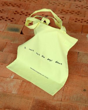 "Get your #KateNewby tote bag with ""I can't nail the days down"" written in Kate Newby's handwriting..."