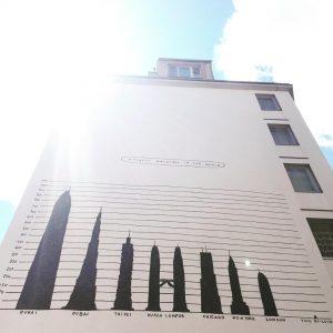 Alles ist relativ. (zoomt rein, um auch den Text zu lesen 😉) #vienna #streetart #skyskraper #art #kunst...