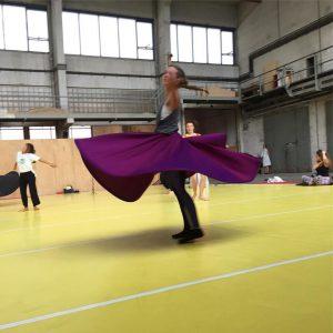 Blurry Brennan Dervish in Progress Day 2. #dervishdance #spinning #whirlingdervish #training #traininsane #impulstanz #studiotime #egyptiandancer #sufism #spinning...