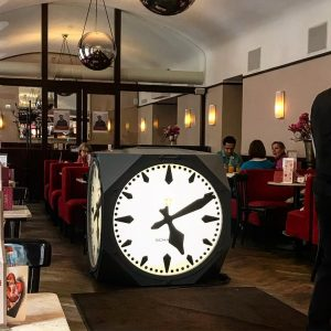 The design of this cube-shaped clock dates from 1907, when the first one was installed between Opera...