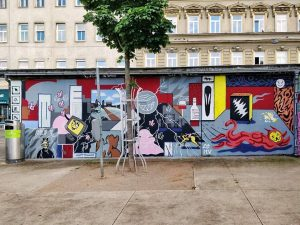 Yppenplatz, 1160 Artists: @perk_up, @marievermont666, @ludschi www.viennamurals.at Blog / Online Map / Book #mural #murals #viennamurals #streetartguidevienna...