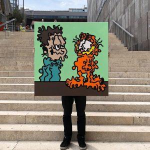 """Garfield & Jon"" 100cm x 100 cm (40""x40"") Acrylic on Canvas, Wizardskull 2018 made during my residency..."