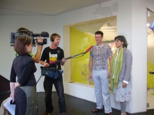 ASIFAKEIL Stefan Stratil und Renate Kordon 2008 Interview in front of ASIFA Austria's showroom based at Q21,...