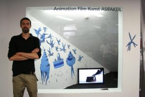 Thibault Gleize in front of his installation at ASIFAKEIL, the showroom of ASIFA Austria at Q21 /...