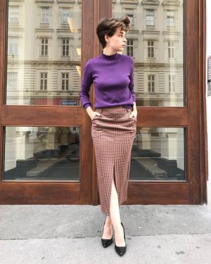 #lookoftheday 💕 Esther #wearing a #sweater for €69,- and #skirt for €79,- by #monicayong at #magazinamgetreidemarkt today...