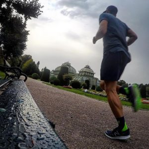 V I E N N A . Running through the garden of Castle Schönbrunn in Vienna. At...