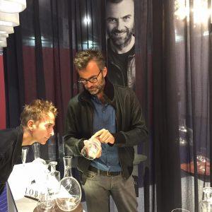 @robertstadlerparis inspecting the final #lobmeyrscotch glasses and decanter @maisonetobjet #mouthblown, #handcutcrystal and #handpolishedcrystal - proud of our...