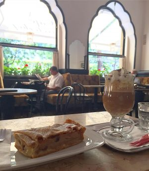 Rebecca Voight @rebeccavoight told me to have apfelstrudel and a Franciscan (espresso, whipped ...