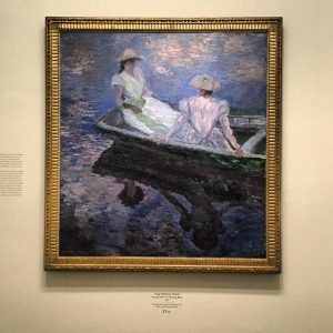 Sound this one different and interesting: Young girls in the boat: painting was brought From The National Museum of Western Art, Tokyo: Monet painted several images of his family boating along the Epte River, just before he finally settled in Giverny. This work is one of the most highly finished of a series of paintings entitled Boating. The blue and rose coloration that suffuses the scene contrasts with the freshness of green and vermilion to create a rich, dreamlike figural image. The figures shown are Suzanne and Blanche, two of Mrs. Hoschedé's children. The composition of boldly slicing the boat in half indicates Monet's study of the art of photography and Japanese ukiyoe prints. #monet #art #artwork #claudmonet #ukiyoe #influence #japan #austria #france #giverny