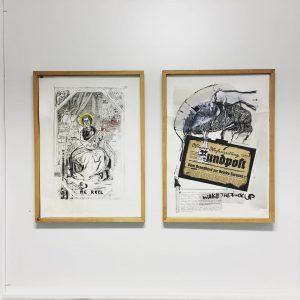 last day 'merkel' 'zecke' at @parallelvienna room 1.52 ... #elseroui #contemporary #politicalart #inkonpaper #parallelvienna2018 #creativeclustertraktorfabrik @david_mase_ @hosenberg_d