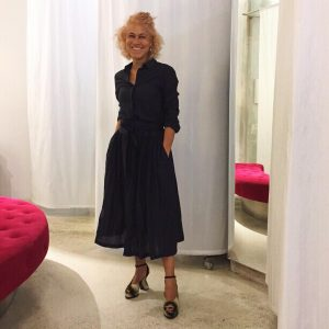 AW 18/19 midnight blue dress by Sara Lanzi and shoes by Dries Van Noten @cassyofficial #saralanzi #driesvannoten...