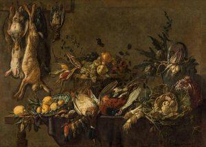 """Adriaen van Utrecht """"Küchenstillleben mit erlegtem Wild, Gemüse und Früchten"""", 1646. €50.000 - 100.000 Lotnummer 37▫️ ▪️..."""