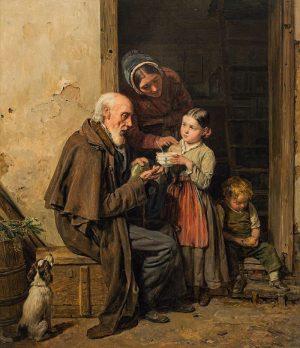 "Ferdinand Georg Waldmüller ""Die milde Gabe"" € 250.000 - 350.000 Lotnummer 220▫️ ▪️ Ferdinand Georg Waldmüller ""The..."