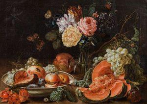 """Johann Amandus Winck """"Früchtestillleben mit Blumen und Insekten"""" (Pendents), 1796. €50.000 - 100.000 Lotnummer 69 Auktion Alte..."""