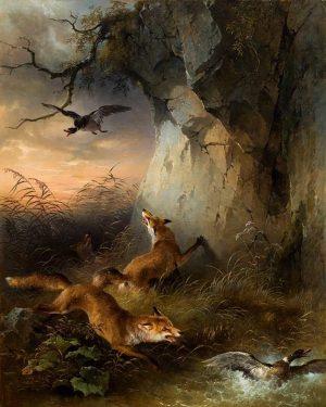 """Friedrich Gauermann """"Füchse jagen Wildenten"""", 1849. €35.000 - 70.000 Lotnummer 252 Auktion Gemälde des 19. Jahrhunderts am..."""