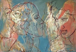 """Bei der Papierarbeit """"Theseus"""" malt Henri Deparade das Profil dieses berühmtesten Helden der griechischen Mythologie in verschiedenen..."""
