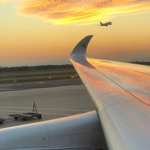 Deservedly picturesque backdrop for this sexy wing #qatara350 #a350 #sunset #avgeek #nofilter