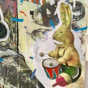#viktorssvikis #riga #new #artwork #detail #studiovisit #vienna #drawing #collage #paper #rabbit #drums #preparing #show #nextyear #galeriemichaelastock #artsy...