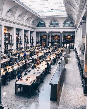 Я сегодня училась в библиотеке Гарри Поттера 🧙🏼♀️ ⠀ Винтажные лестницы, старинные лампы, приглушённый приятный свет (на...