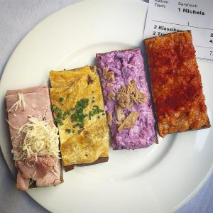 🌈 (sandwiches, from left: ham w/horseradish, egg w/chive, purple cabbage w/tuna, spicy meat!) Zum Schwarzen Kameel