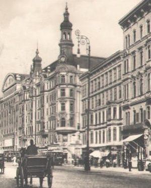 Photo um 1925 Mariahilfer Straße, benannt (1897) nach der ehemaligenVorstadt Mariahilf(vorher oftmalige Namensänderungen:Kremser Straße, Bayrische Landstraße, Laimgrubner...