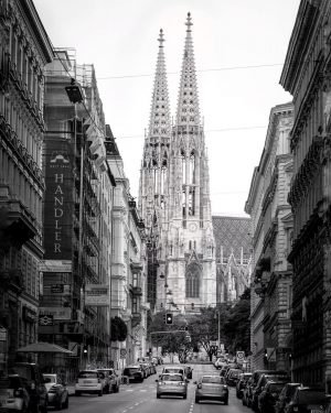One of my favourite photo motifs in Vienna ⛪️ . #votivkirche ##1090 #alsergrund #beautiful #view #street #onthestreet...