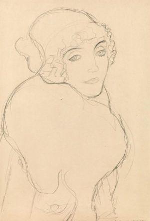 """. Gustav Klimt, """"Brustbild nach rechts (Studie für das Bildnis """"Der Pelzkragen"""")"""", um 1916. Bleistift auf Papier,..."""