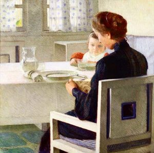 """Good Morning with """"Mother and child at the table (At breakfast), 1903, by the Austrian painter Carl..."""