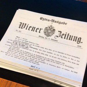 Extra-Ausgabe! Ein Faksimile der @wienerzeitung vom 11. November 1918 mit der Verzichtserklärung Kaiser Karls sowie einem Spezialteil...