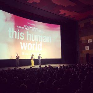 Der neue Festivaldirektor und die neue Programmdirektorin bei der Eröffnung des 11. @thishumanworld ...