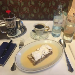 Apfelstrudel. #cafelandtmann #vienna #wien #apfelstrudel #pastry #patisserie #foodie #smythson #fountainpen #landtmann #cafe #austria #dessert