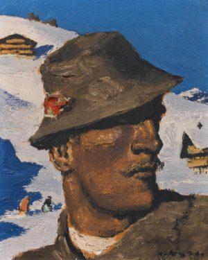 """. Alfons Walde, """"Bergbauer"""", 1933. Öl auf Karton, 27,5 x 23 cm Lotnummer 15 Schätzpreis: € 35.000..."""
