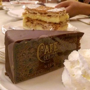 [Vienna, 🇦🇹] So excited to try the sachertorte in Vienna - a chocolate cake with apricot jam...
