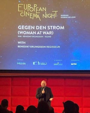 Oh, what a night. Benedict Erlingsson presenting GEGEN DEN STROM (Woman at War) at Vienna's Filmcasino. #europeancinemanight...