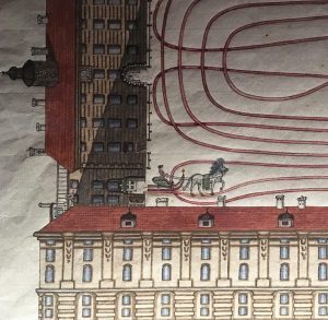 Detail of a watercolour plan for a sleigh ride in the inner court of #hofburgpalace #vienna Part...