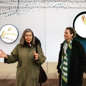 """Elfie Semotan with curator Sabine Jelinek, presenting """"Floor Dance Story/Fragments"""" in """"stars passage"""". Foto: (c) esel.at -..."""