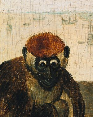 The monkeys Bruegel has painted are of the genus ceropithecidae, collared mangabeys, which inhabit the west coast...