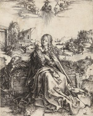 This copperplate print by Albrecht Dürer from 1495 is called the 'Holy Family with Dragonfly' (Die Heilige...