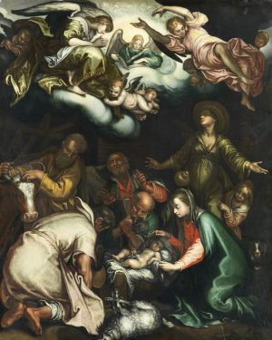 Merry Christmas with a copy after Abraham Bloemaert depicting the Adoration of the Shepherds (after 1612). We...