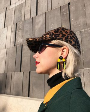 Amina wearing our brand new SHIRLEY Earrings from AW18 DECO collection. She's soaking up the sun.🌞 ....