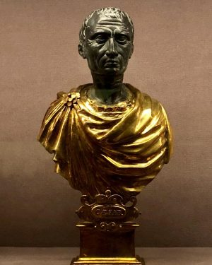 Bust of Julius Caesar. Exhibition:'Spitzmaus Mummy in a Coffin and Other Treasures' Italian ? 17C. Marble, gilded...
