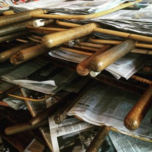 The well-worn handles of the newspaper holders at Vienna's Cafe Pruckel. One day ...