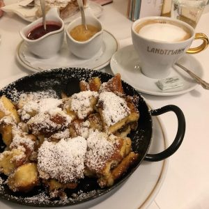 Carbaloading on Kaiserschmarrn, something in between pancakes and funnel cake.