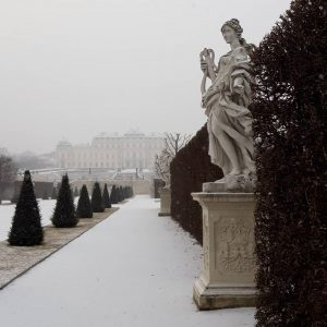 Those silent moments before Belvedere Museum opens, no footsteps yet in the fresh snow 👀❄. #belvederemuseum #artmuseum...