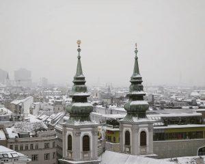 From above . . . . . . #winterdays #snowcoveredrooftops #spires #winter #vienna #austria #wien #österreich