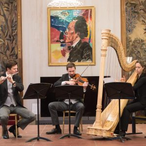 Harpist Charlotte Balzereit, flutist Karl-Heinz Schütz and violist Gerhard Marschner performed the 5th concert of our Chamber...