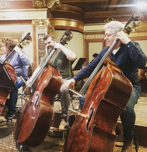 Good morning from the double basses! @londonsymphonyorchestra @maxinekwokadams #takeover #imverein #londonsymphonyorchestra #lso #londonsymphonyorchestra #musikverein #sirsimonrattle