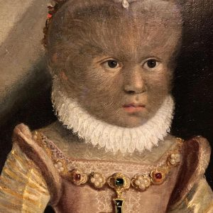 "Detail of a portrait of Madeleine Gonsalvus. Daughter of ""The Man of the Woods"". c.1580"