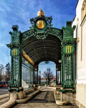 The Hietzing station pavilion in Vienna designed in unique modern style in 1899 by OTTO WAGNER( 1841-1918)....